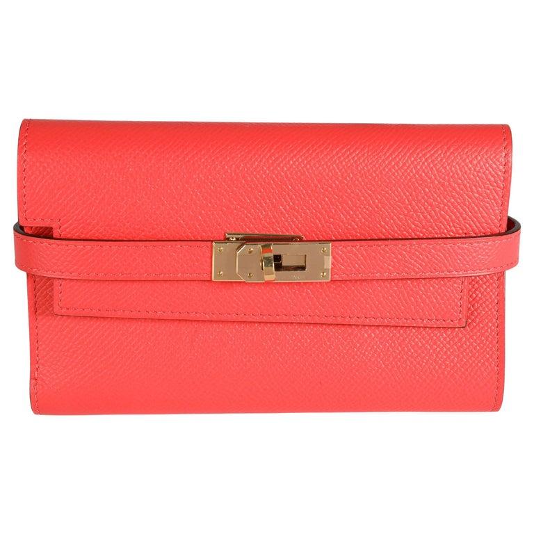Hermès Rose Jaipur Epsom Kelly Depliant Medium Wallet GHW For Sale