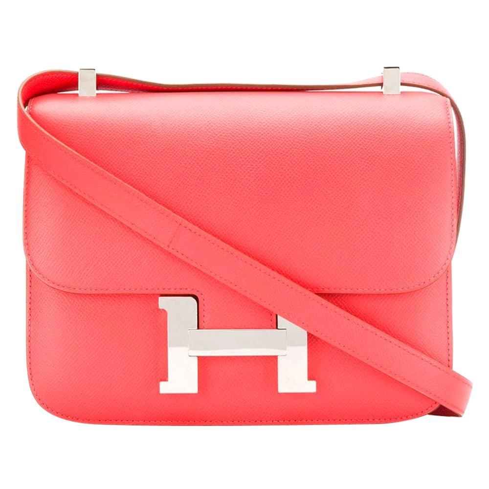 Hermes Rose Jaipur Epsom Leather 24cm Constance Bag