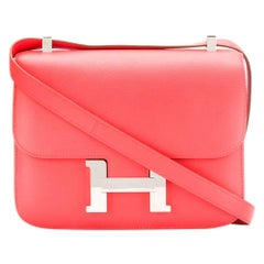 Hermes Rose Jaipur Epsom Leather 24cm Constance Bag