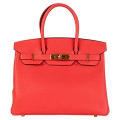 HERMES Rose Jaipur pink Clemence leather & gold BIRKIN 30 Bag