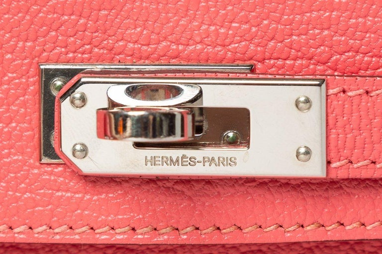 Hermes Rose Lipstick Chevre Leather Mini Kelly Sellier II 20 For Sale 6