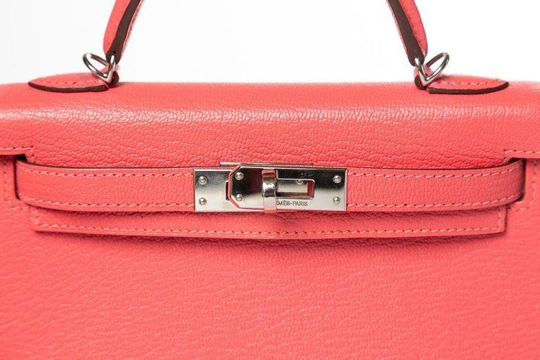 3034b4216153 Hermes Rose Lipstick Chevre Leather Mini Kelly Sellier II 20 For Sale 4