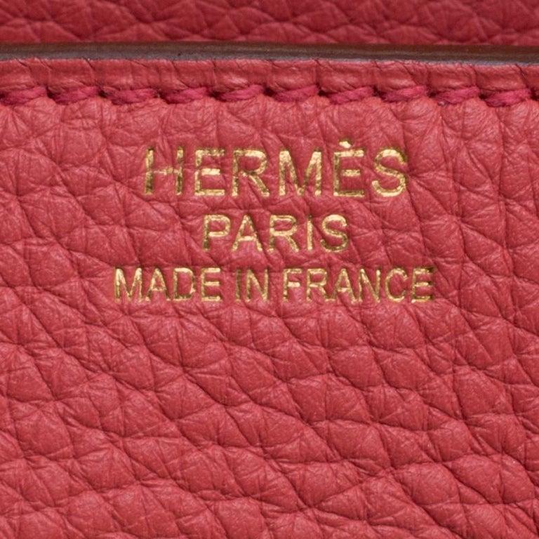 Hermes Rose Lipstick Togo Leather Gold Hardware Birkin 35 Bag For Sale 6