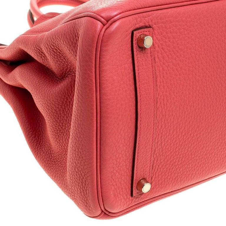 Hermes Rose Lipstick Togo Leather Gold Hardware Birkin 35 Bag For Sale 7