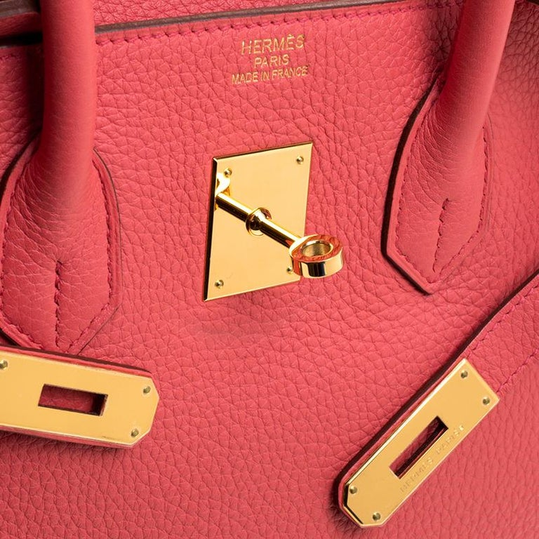 Hermes Rose Lipstick Togo Leather Gold Hardware Birkin 35 Bag For Sale 9