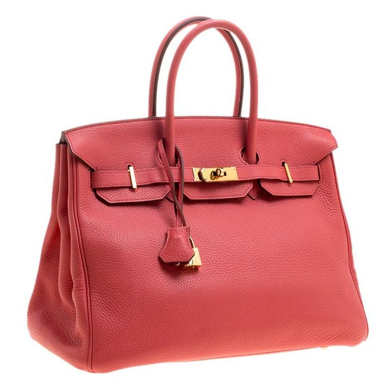 Women's Hermes Rose Lipstick Togo Leather Gold Hardware Birkin 35 Bag For Sale