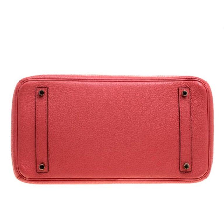 Hermes Rose Lipstick Togo Leather Gold Hardware Birkin 35 Bag For Sale 1