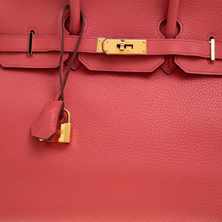 Hermes Rose Lipstick Togo Leather Gold Hardware Birkin 35 Bag For Sale 2