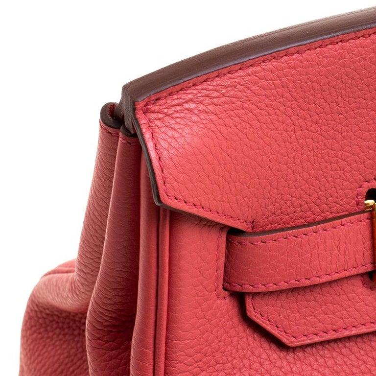 Hermes Rose Lipstick Togo Leather Gold Hardware Birkin 35 Bag For Sale 3