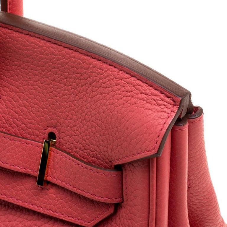 Hermes Rose Lipstick Togo Leather Gold Hardware Birkin 35 Bag For Sale 4