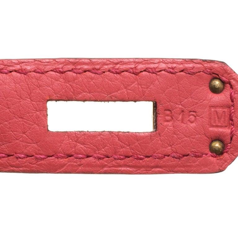 Hermes Rose Lipstick Togo Leather Gold Hardware Birkin 35 Bag For Sale 5