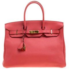 Hermes Rose Lipstick Togo Leather Gold Hardware Birkin 35 Bag