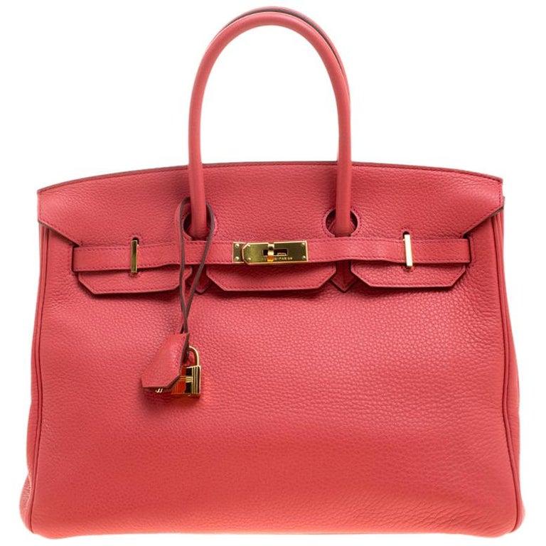 Hermes Rose Lipstick Togo Leather Gold Hardware Birkin 35 Bag For Sale
