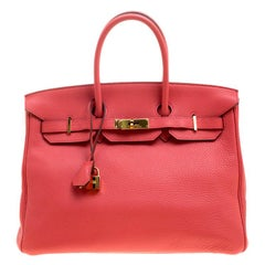 Hermes Rose Lipstick Togo Leather Gold Hardware Birkin 35 Bag