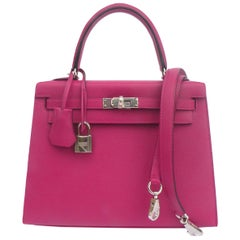 Hermès Rose Pourpre Epsom Sellier Kelly 25cm Palladium Hardware