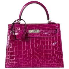 Hermès Rose Pourpre Shiny Niloticus Crocodile Sellier Kelly 25cm