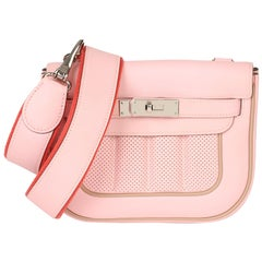 Hermès Rose Sakura & Argile Perforated Swift Leather Berline 21cm