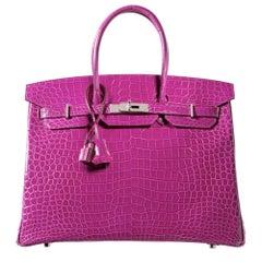 Hermès Rose Scheherazade Lisse Porosus Crocodile 35cm Birkin Bag