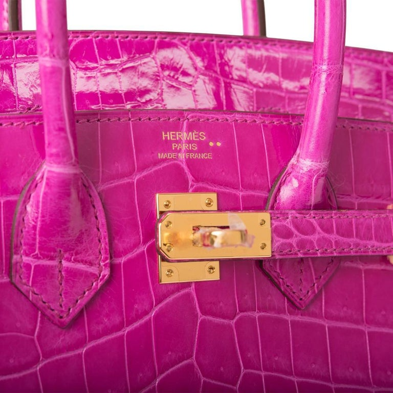 Purple Hermès Rose Scheherazade Niloticus Crocodile Birkin 25cm Gold Hardware For Sale