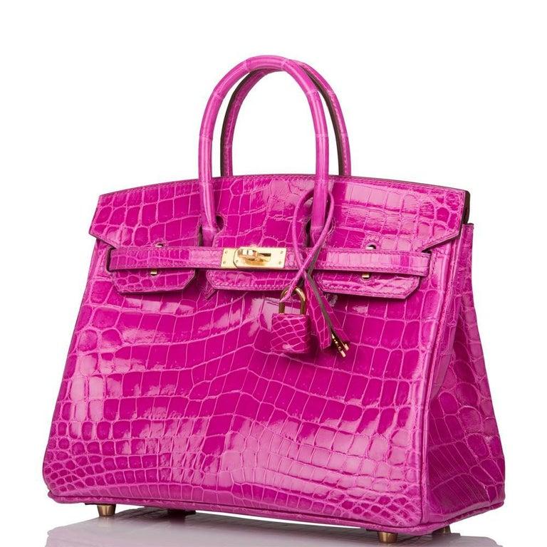 Hermès Rose Scheherazade Niloticus Crocodile Birkin 25cm Gold Hardware For Sale 1