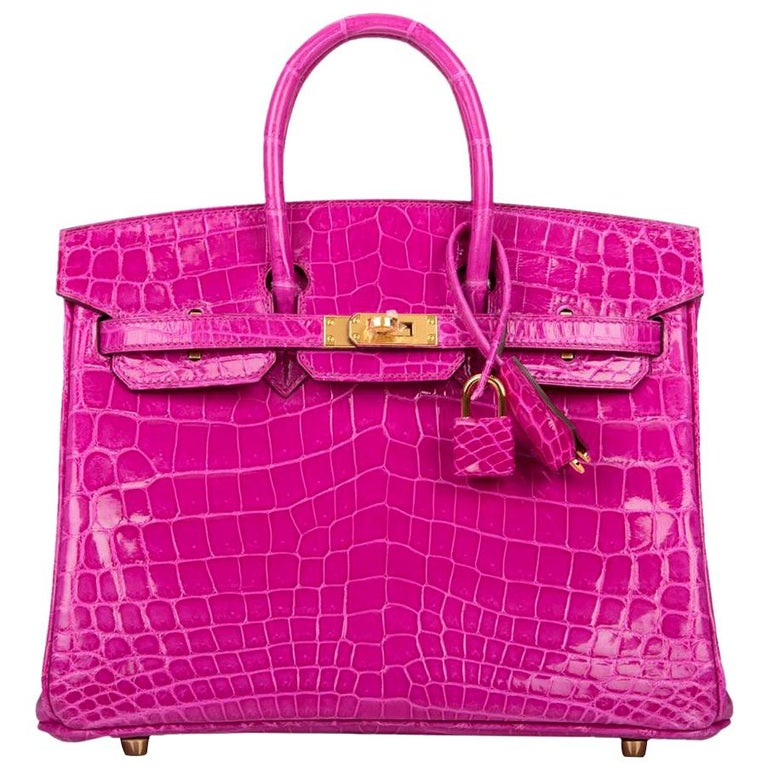 Hermès Rose Scheherazade Niloticus Crocodile Birkin 25cm Gold Hardware For Sale