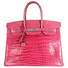 Hermès Rose Scheherazade Shiny Porosus Crocodile Birkin 35 PHW
