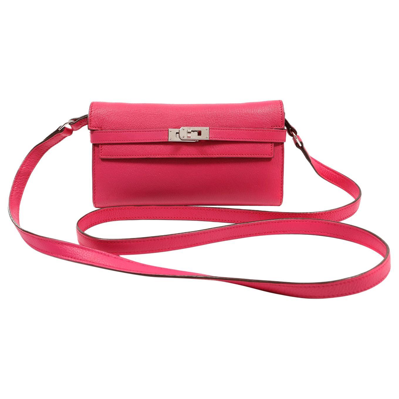 Hermès Rose Shocking Chevre Kelly Wallet To Go