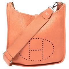 Hermes Rose Tea Clemence Leather Evelyne III PM Bag