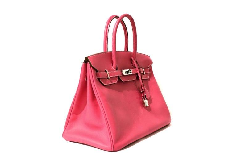 Red Hermès Rose Tyrien Epsom 35 cm Birkin Bag For Sale
