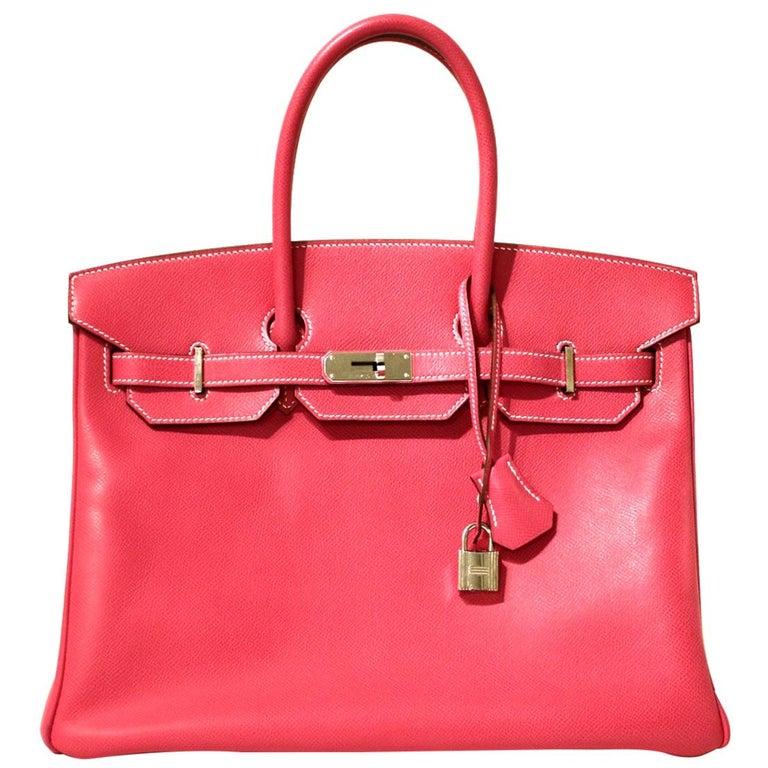 Hermès Rose Tyrien Epsom 35 cm Birkin Bag For Sale