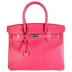 Hermès Rose Tyrien Ostrich Birkin 30 PHW