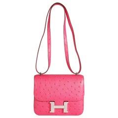 Hermès Rose Tyrien Ostrich Constance 18 PHW