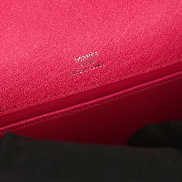 Hermès Rose Tyrien Ostrich Leather Kelly Pochette For Sale 5