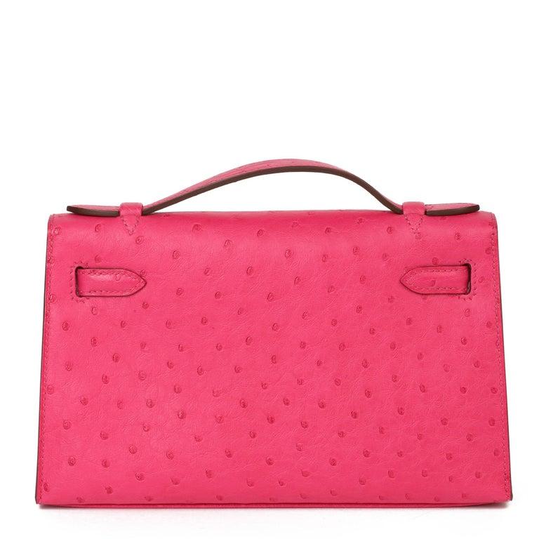Hermès Rose Tyrien Ostrich Leather Kelly Pochette For Sale 1