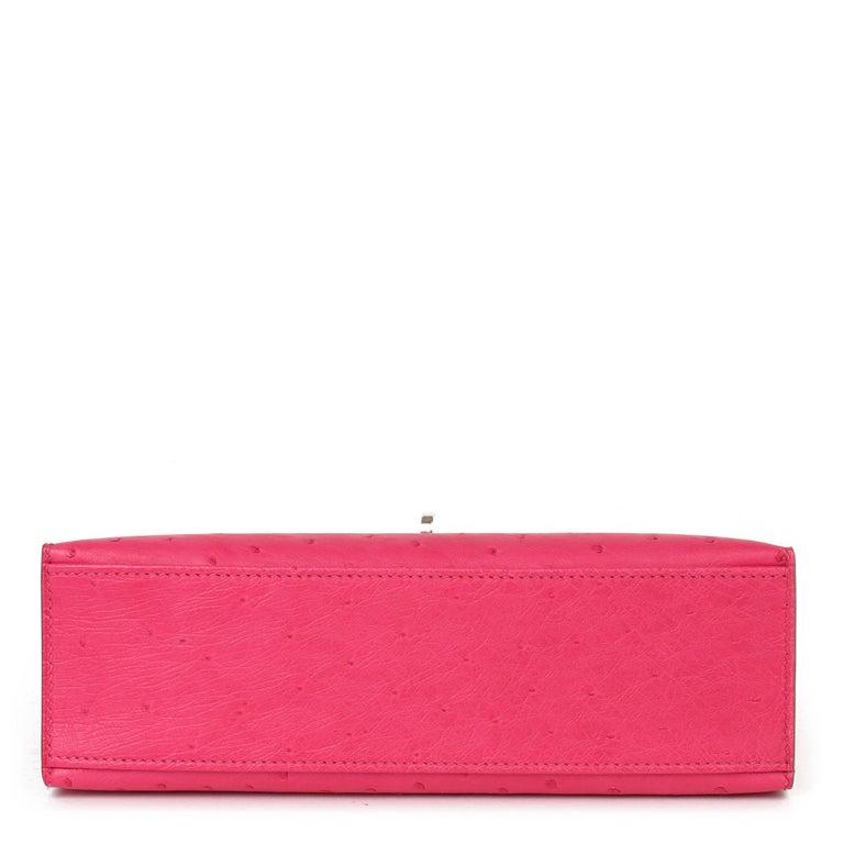 Hermès Rose Tyrien Ostrich Leather Kelly Pochette For Sale 2