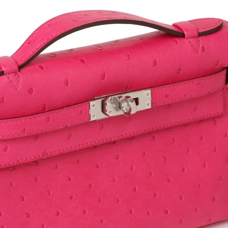 Hermès Rose Tyrien Ostrich Leather Kelly Pochette For Sale 3