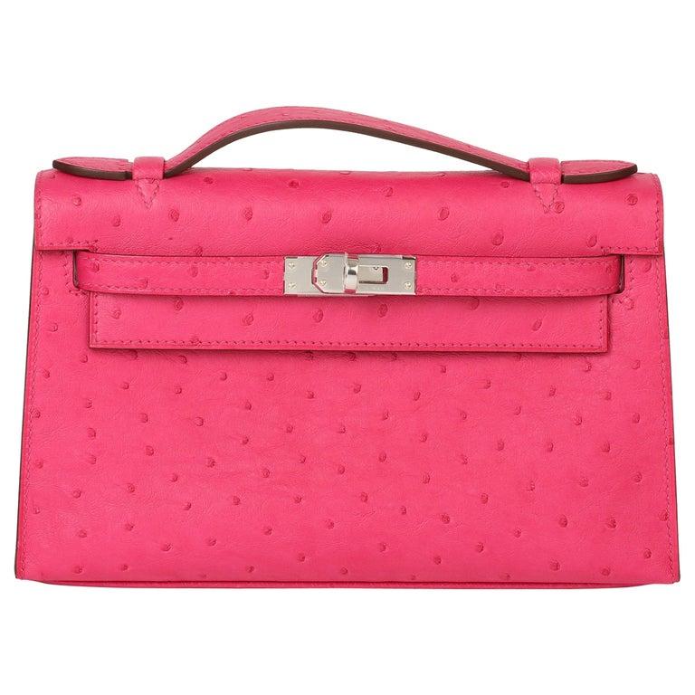 Hermès Rose Tyrien Ostrich Leather Kelly Pochette For Sale