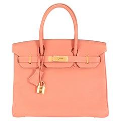 Hermès Rosy Clémence Birkin 30 GHW