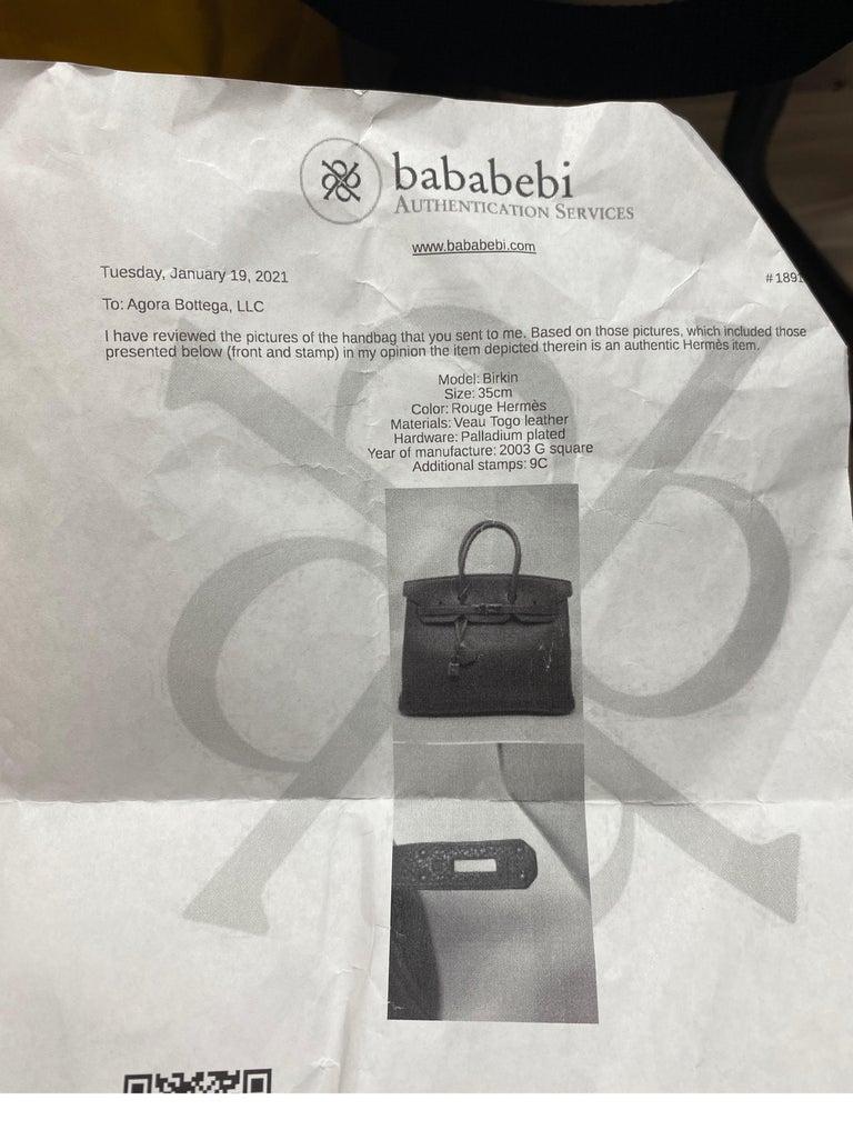Hermes Rouge Birkin 35 Bag For Sale 12