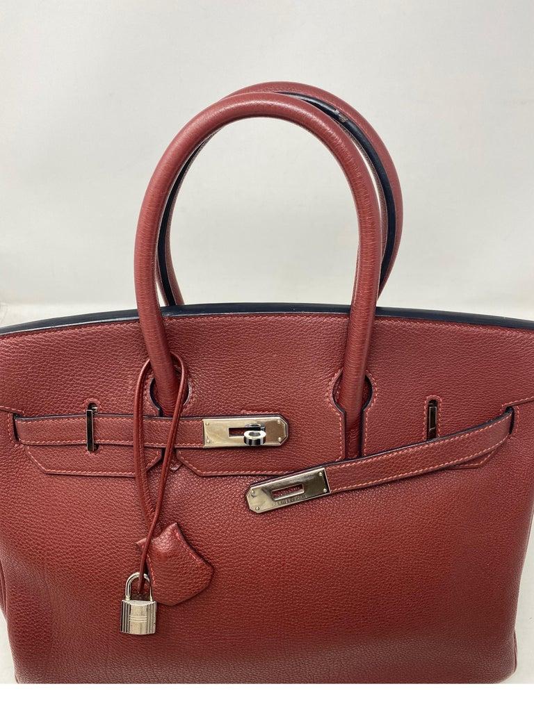 Brown Hermes Rouge Birkin 35 Bag For Sale