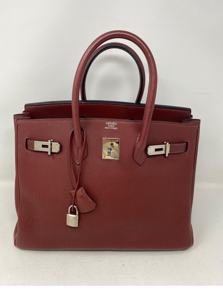 Hermes Rouge Birkin 35 Bag In Excellent Condition For Sale In Athens, GA