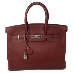 Hermes Rouge Birkin 35 Bag