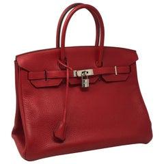 Hermes Rouge Casaque Birkin 35 Bag