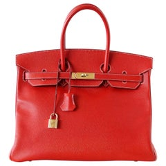 Hermes Rouge Casaque Candy Limited Edition Epsom Birkin 35 Bag