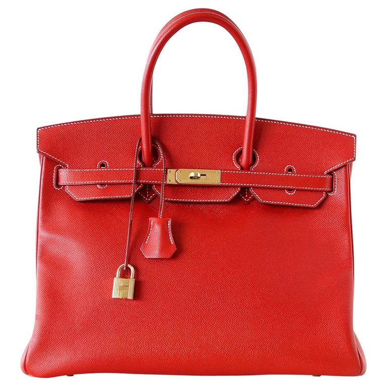 Hermes Rouge Casaque Candy Limited Edition Epsom Birkin 35 Bag  For Sale