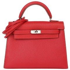 Hermès Rouge Casaque Chevre Mysore Leather Special Order HSS Kelly 15cm Sellier