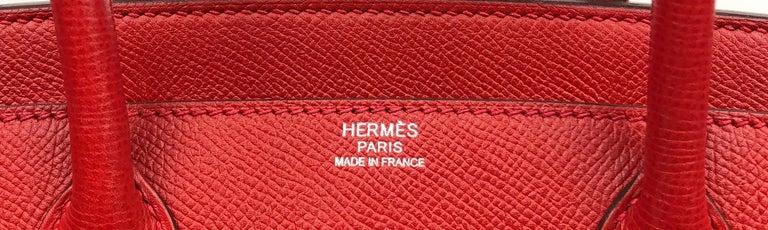 Hermès Rouge Casaque Epsom 30 cm Birkin Bag For Sale 2