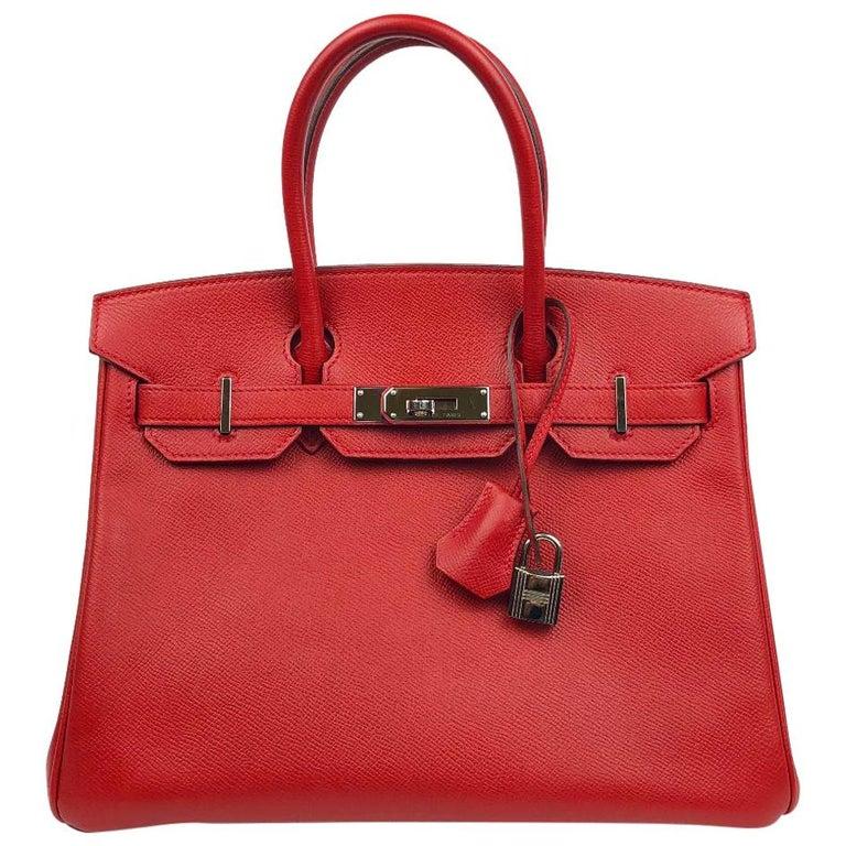 Hermès Rouge Casaque Epsom 30 cm Birkin Bag For Sale