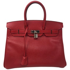 Hermes Rouge Casaque Epsom Birkin 35 Bag