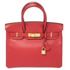 Hermes Rouge Casaque Epsom Leather Gold Finish Birkin 30 Bag